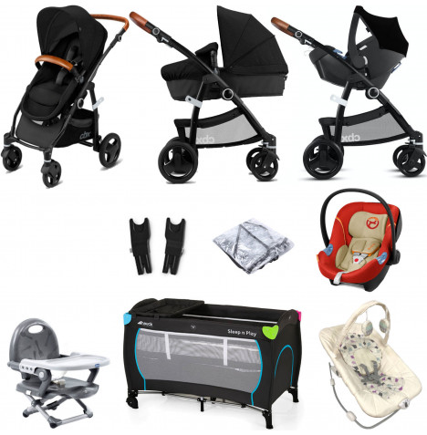 Cybex CBX Leotie Lux (Aton M) Everything You Need Travel System Bundle with Carrycot - Smoky Anthracite