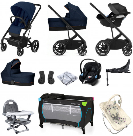 Cybex Balios S Lux (Aton M i-Size) Everything You Need Travel System Bundle with Carrycot & ISOFIX Base - Navy Blue