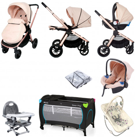 My Babiie MB400 *Billie Faiers* Everything You Need Travel System Bundle - Rose Gold Blush