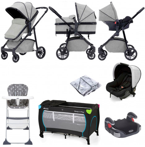 Ickle Bubba Moon 3 in 1 (Astral) Everything You Need Travel System Bundle - Light Grey
