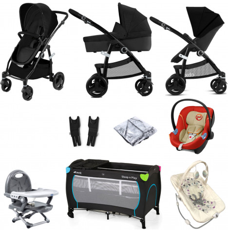 Cybex CBX Leotie Pure (Aton M) Everything You Need Travel System Bundle with Carrycot - Smoky Anthracite