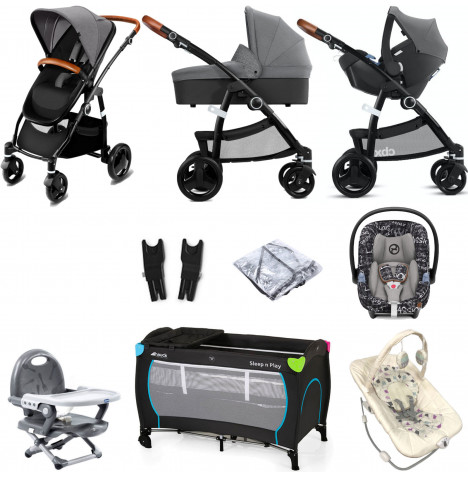 Cybex CBX Leotie Lux (Aton M i-Size) Everything You Need Travel System Bundle with Carrycot - Comfy Grey