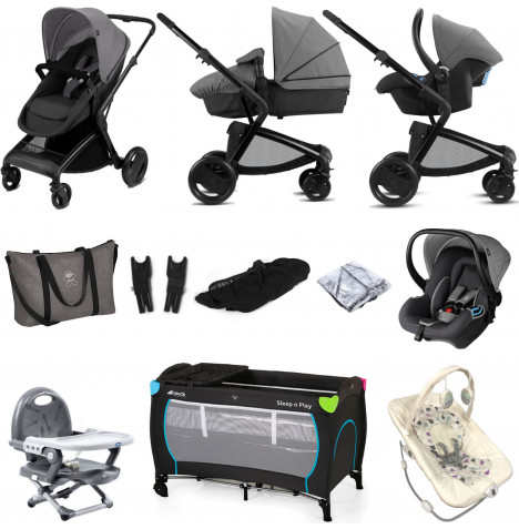 Cybex CBX Bimisi Flex (Shima) Everything You Need Travel System Bundle with Accessories - Comfy Grey