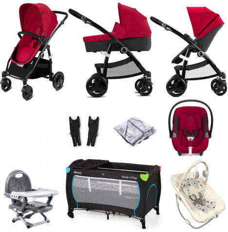 Cybex CBX Leotie Pure (Aton M i-Size) Everything You Need Travel System Bundle with Carrycot - Crunchy Red