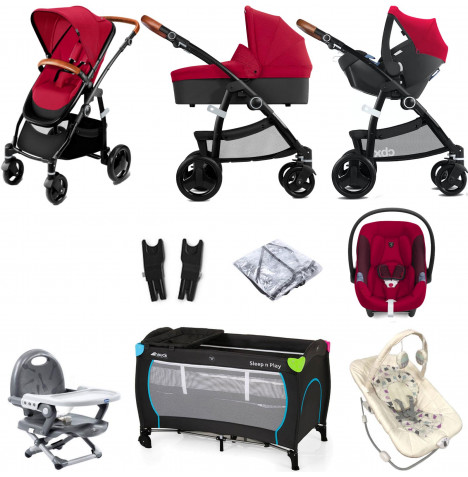 Cybex CBX Leotie Lux (Aton M i-Size) Everything You Need Travel System with Carrycot - Crunchy Red