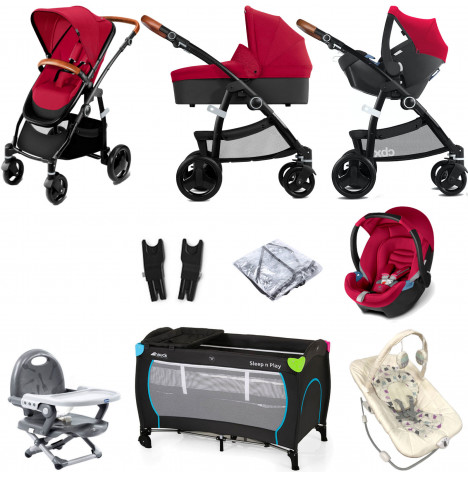 Cybex CBX Leotie Lux (Aton) Everything You Need Travel System Bundle with Carrycot - Crunchy Red