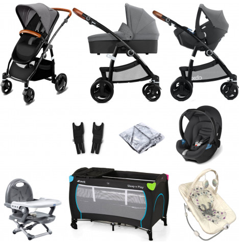 Cybex CBX Leotie Lux (Aton) Everything You Need Travel System Bundle with Carrycot - Comfy Grey