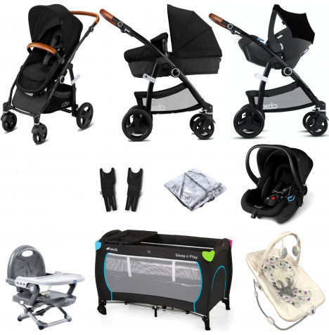 Cybex CBX Leotie Lux (Shima) Everything You Need Travel System Bundle with Carrycot - Smoky Anthracite