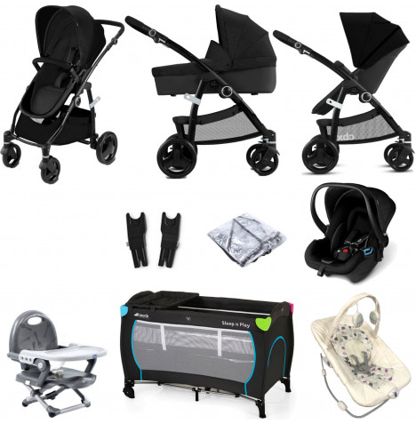 Cybex CBX Leotie Pure (Shima) Everything You Need Travel System Bundle with Carrycot - Smoky Anthracite