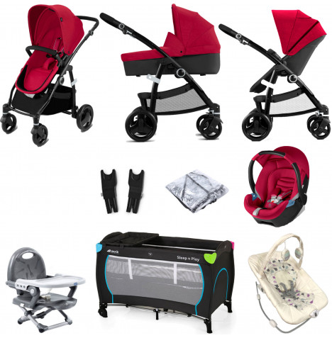 Cybex CBX Leotie Pure (Aton) Everything You Need Travel System Bundle with Carrycot - Crunchy Red