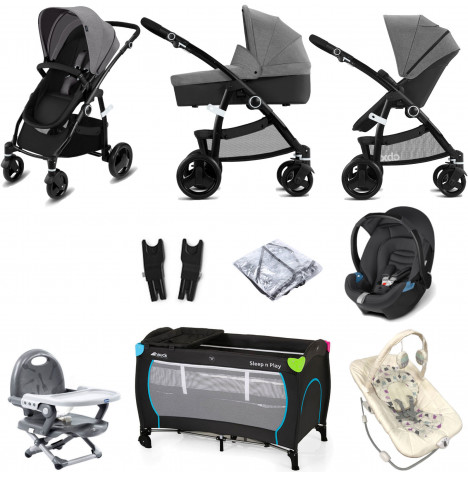 Cybex CBX Leotie Pure (Aton) Everything You Need Travel System Bundle with Carrycot - Comfy Grey