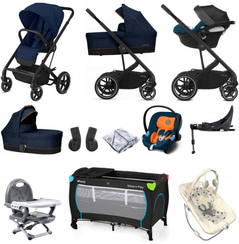 Cybex Balios S Lux (Aton M) Everything You Need Travel System with Carrycot & ISOFIX Base - Navy Blue