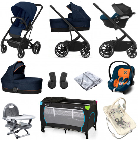 Cybex Balios S Lux (Aton M) Everything You Need Travel System Bundle with Carrycot - Navy Blue
