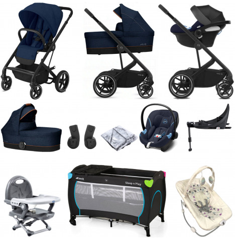 Cybex Balios S Lux (Aton M i-Size) Everything You Need Travel System with Carrycot & ISOFIX Base - Navy Blue