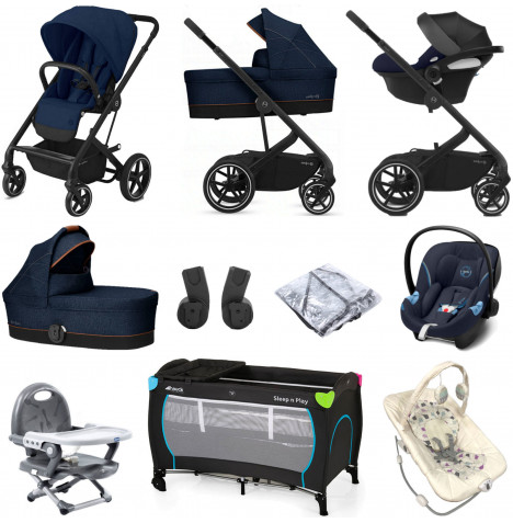 Cybex Balios S Lux (Aton M i-Size) Everything You Need Travel System Bundle with Carrycot - Navy Blue
