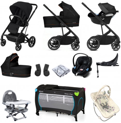 Cybex Balios S Lux (Aton M i-Size) Everything You Need Travel System with Carrycot & ISOFIX Base - Deep Black
