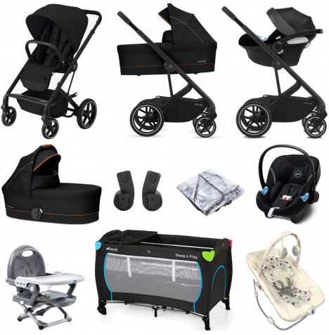 Cybex Balios S Lux (Aton M i-Size) Everything You Need Travel System Bundle with Carrycot - Deep Black