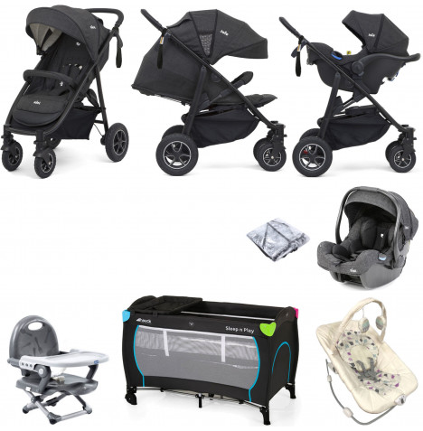 Joie MyTrax S (I-Gemm) Everything You Need Travel System Bundle - Pavement