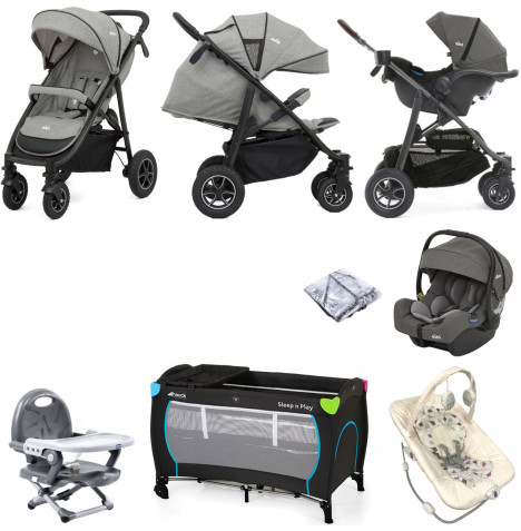 Joie MyTrax S (I-Gemm) Everything You Need Travel System Bundle - Grey