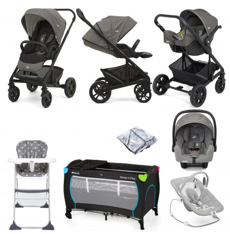Joie Chrome (i-Snug) Everything You Need Travel System Bundle - Grey / Grey Flannel