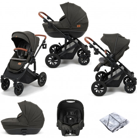 Babylo Traverse 2in1 (Gemm) Travel System with Carrycot - Black / Grey