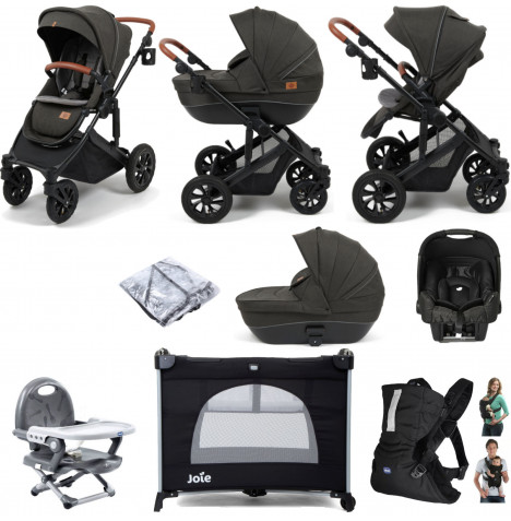 Babylo Traverse 2in1 (Gemm) Everything You Need Travel System Bundle with Carrycot - Black / Grey