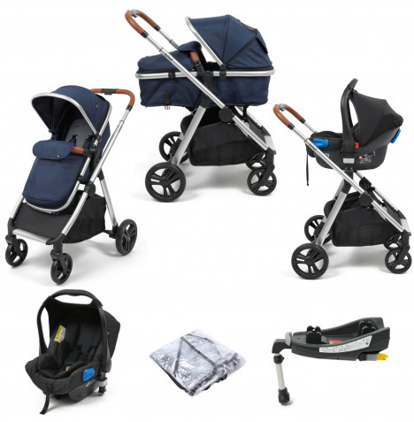 Babylo Luna 3in1 Travel System with ISOFIX Base - Blue
