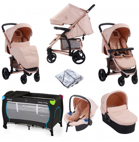 My Babiie MB200+ *Billie Faiers Collection* Travel System with Carrycot & FREE Travel Cot - Rose Gold & Blush