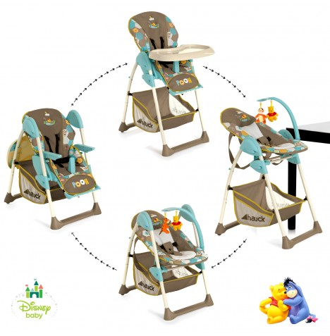 hauck disney pooh in the wood sit n relax highchair feeding chair bouncer ebay