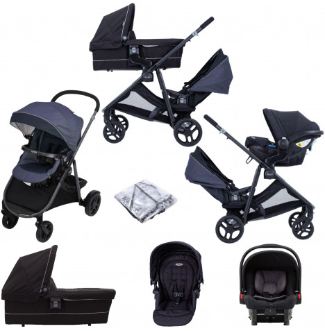 Graco Time2Grow (SnugEssentials) ISIZE Tandem Travel System with Carrycot - Denim / Black