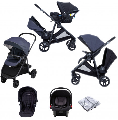 Graco Time2Grow (SnugEssentials) ISIZE Tandem Travel System - Denim / Black