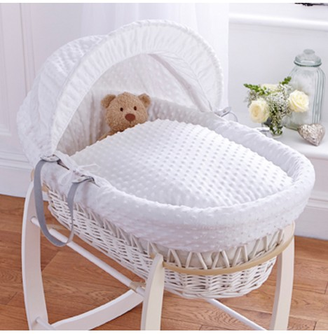Clair De Lune Deluxe Padded White Wicker Baby Moses Basket - White Dimple