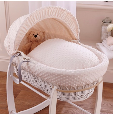 Clair De Lune Deluxe Padded White Wicker Baby Moses Basket - Cream Dimple