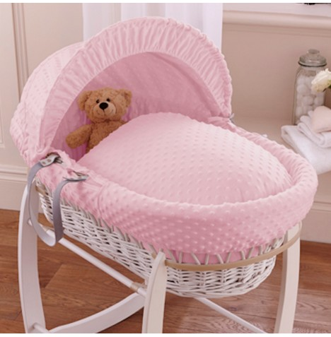 Clair De Lune Deluxe Padded White Wicker Baby Moses Basket - Pink Dimple