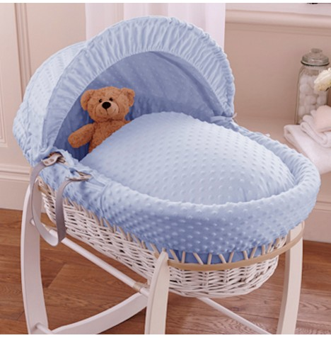 Clair De Lune Deluxe Padded White Wicker Baby Moses Basket - Blue Dimple