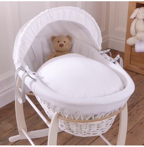 Clair De Lune Deluxe Padded White Wicker Baby Moses Basket - White Waffle