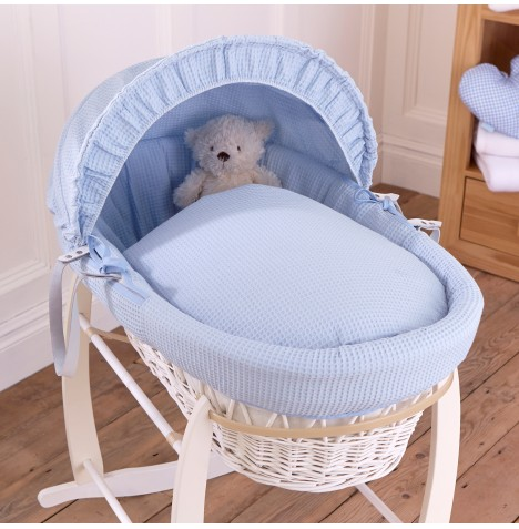 Clair De Lune Deluxe Padded White Wicker Baby Moses Basket - Waffle Blue