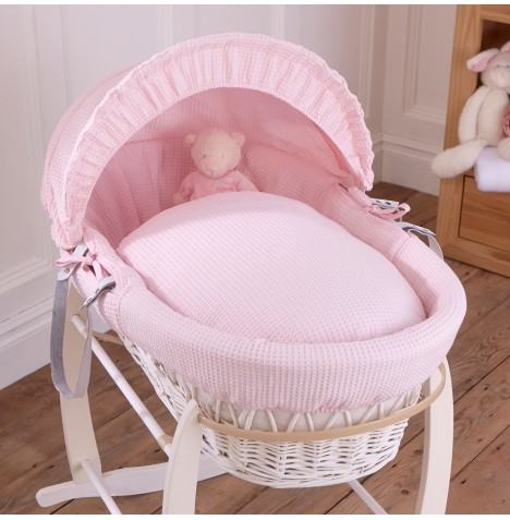 Clair De Lune Deluxe Padded White Wicker Baby Moses Basket - Pink Waffle