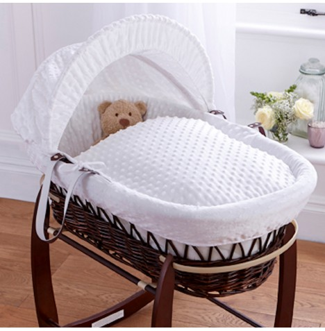 Clair De Lune Deluxe Padded Dark Wicker Baby Moses Basket - White Dimple