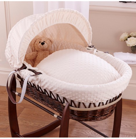 Clair De Lune Deluxe Padded Dark Wicker Baby Moses Basket - Cream Dimple