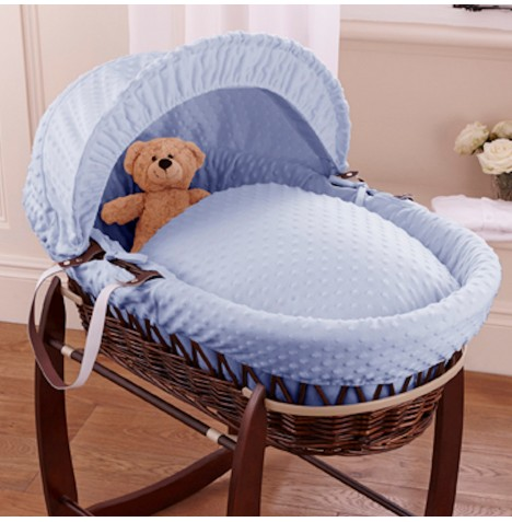 Clair De Lune Deluxe Padded Dark Wicker Baby Moses Basket - Blue Dimple