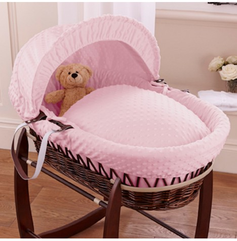 Clair De Lune Deluxe Padded Dark Wicker Baby Moses Basket - Pink Dimple