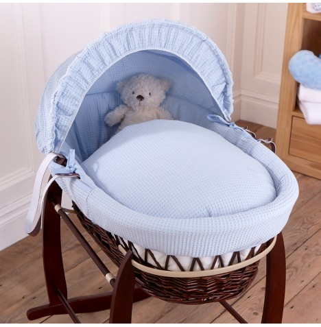 Clair De Lune Deluxe Padded Dark Wicker Baby Moses Basket - Blue Waffle
