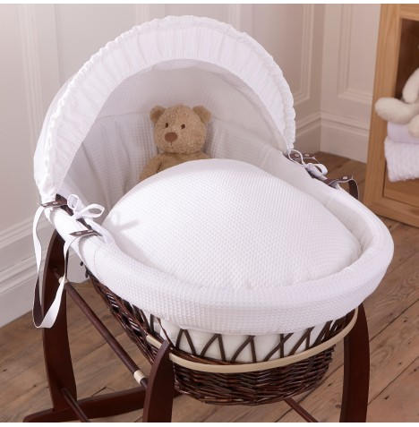 Clair De Lune Deluxe Padded Dark Wicker Baby Moses Basket - White Waffle