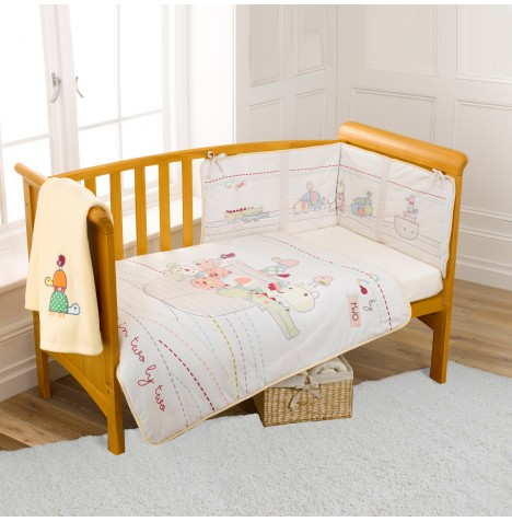 Clair De Lune Two By Two 4 Piece Designer Cot / Cot Bed Bedding Set