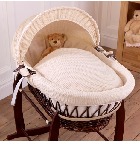 Clair De Lune Deluxe Padded Dark Wicker Baby Moses Basket -Cream Waffle
