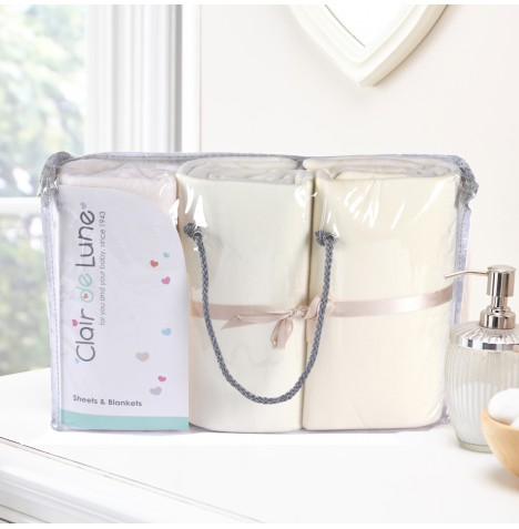 Clair De Lune 3 Piece Baby Moses Basket Bedding Bale Gift Set - Cream