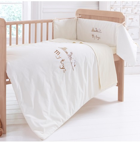 Clair De Lune 3 Piece Cot / Cot Bed Quilt & Bumper Set - My Toys Cream
