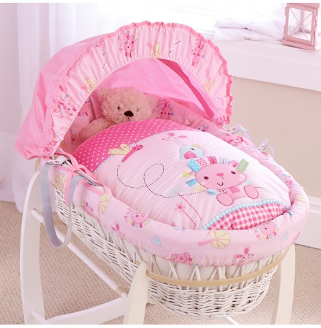 Clair De Lune Deluxe Padded White Wicker Baby Moses Basket - Lottie & Squeek