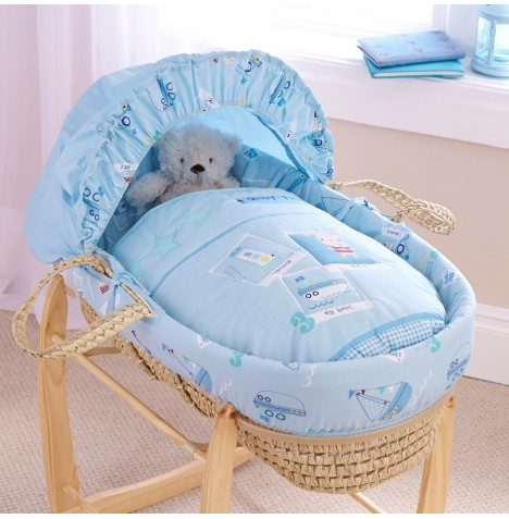 Clair De Lune Padded Palm Moses Basket - Ahoy
